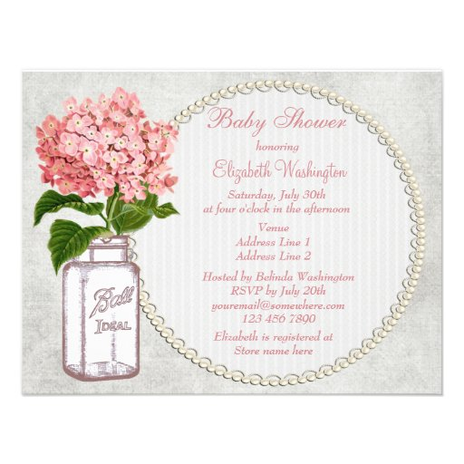 shabby chic mason jar hydrangea baby shower custom invitations