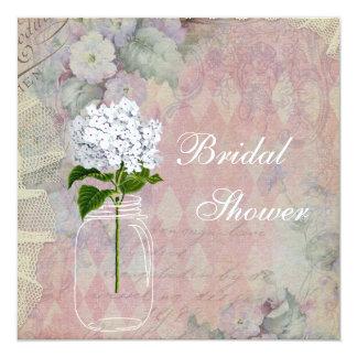 Shabby Chic Mason Jar & Hydrangea Bridal Shower 5.25x5.25 Square Paper Invitation Card