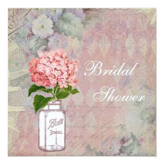 "Shabby Chic Mason Jar & Hydrangea Bridal Shower 5.25"" Square Invitation Card"