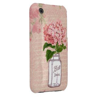Shabby Chic Mason Jar & Pink Hydrangea iPhone 3 Covers