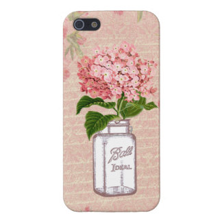 Shabby Chic Mason Jar & Pink Hydrangea Case For iPhone 5