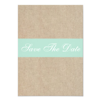 Shabby Chic Mint Burlap Save The Date Announcement