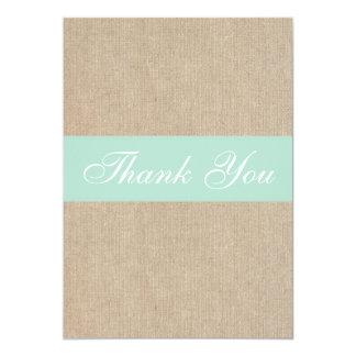 Shabby Chic Mint Burlap Thank You Card