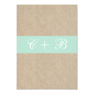 Shabby Chic Mint Burlap Wedding Invitation
