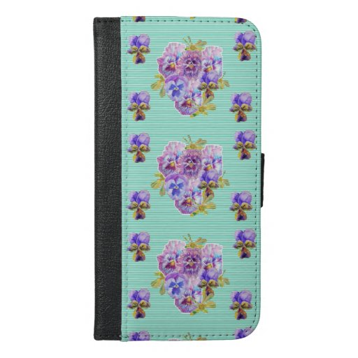 Shabby Chic Mint Pansy Floral Dot I Phone Case