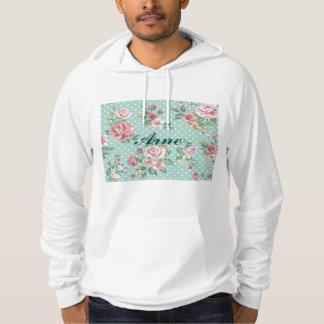 shabby chic mint polka dot pink white vintage girl hoodie