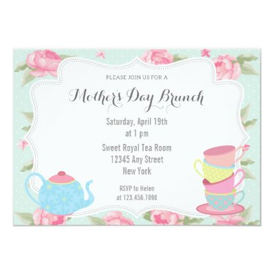 Watercolor Florals Mother S Day Brunch Tea Party Invitation Zazzle Com