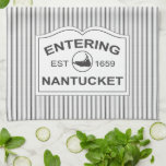 """Shabby Chic Nantucket Sign in Black &amp; White Stripe Kitchen Towel<br><div class=""""desc"""">A pretty kitchen towel to remind you of your favorite island.  The classic iconic New England white wooden sign,  features the text,  &quot;Entering Nantucket,  Est 1659&quot; set against a traditional french black and white ticking stripe background. Very crisp and clean looking in black and white.</div>"""