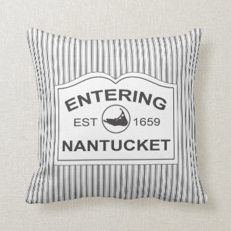 Shabby Chic Nantucket Welcome Sign Black & White Throw Pillow