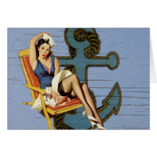 Shabby Chic Nautical Anchor Pin Up Girl Card