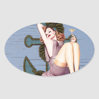 Shabby Chic Nautical Anchor Pin Up Girl Oval Sticker