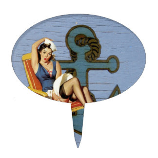 Shabby Chic Nautical Anchor Pin Up Girl Sailor Cake Topper