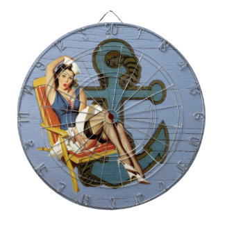 Shabby Chic Nautical Anchor Pin Up Girl Sailor Dart Board