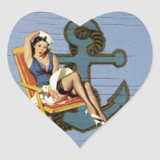 Shabby Chic Nautical Anchor Pin Up Girl Sailor Heart Sticker