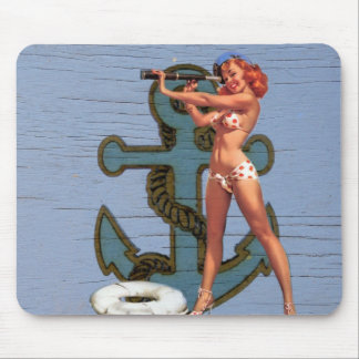 Shabby Chic Nautical Anchor Pin Up Girl Sailor Mouse Pad