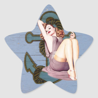 Shabby Chic Nautical Anchor Pin Up Girl Star Sticker