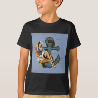 Shabby Chic Nautical Anchor Pin Up Girl T-Shirt