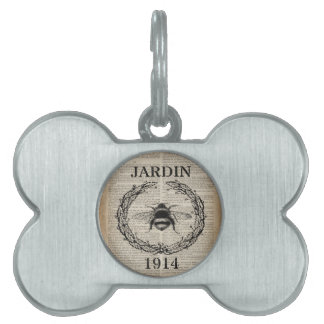 shabby chic newspaper country botanical french bee pet ID tag