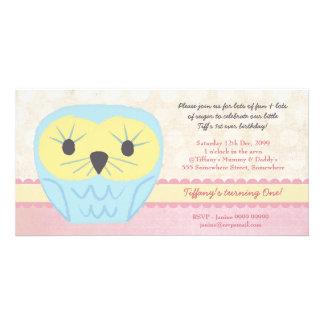Shabby Chic Owl 1st Birthday Party Invite Personalized Photo Card