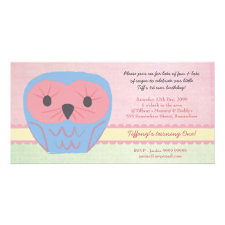 Shabby Chic Owl 1st Birthday Party Invite Photo Card Template