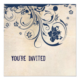 Shabby Chic Parchment and Blue Lace Invitation