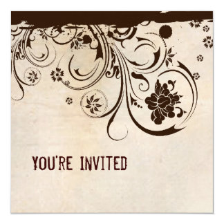 "Shabby Chic Parchment and Brown Lace Invitation 5.25"" Square Invitation Card"