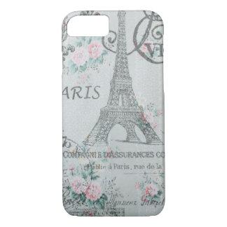shabby chic paris eiffel tower blue floral iPhone 7 case