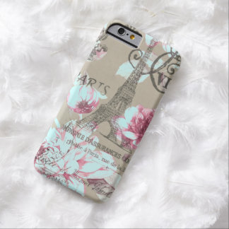shabby chic paris eiffel tower purple floral barely there iPhone 6 case