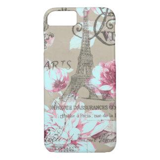 shabby chic paris eiffel tower purple floral iPhone 7 case