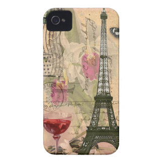 Shabby Chic Paris Eiffel Tower & Red Wine Case-Mate iPhone 4 Case