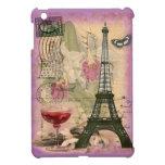 Shabby Chic Paris Eiffel Tower & Red Wine iPad Mini Cover