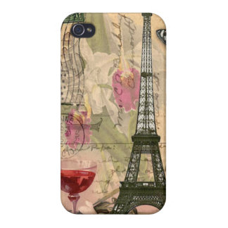 Shabby Chic Paris Eiffel Tower & Red Wine iPhone 4 Cases