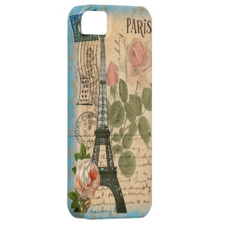 Shabby Chic Paris Eiffel Tower & Roses iPhone 5 Cover