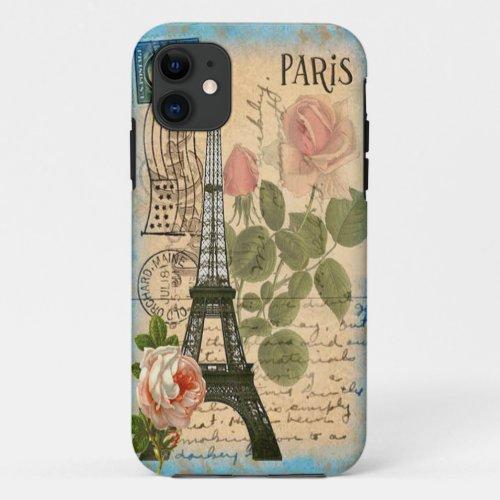 Shabby Chic Paris Eiffel Tower & Roses Phone Case
