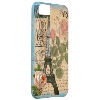 Shabby Chic Paris Eiffel Tower & Roses Cover For iPhone 5C