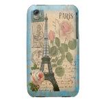 Shabby Chic Paris Eiffel Tower & Roses iPhone 3 Case-Mate Case