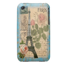 Shabby Chic Paris Eiffel Tower & Roses Iphone 3 Case-mate Case at Zazzle