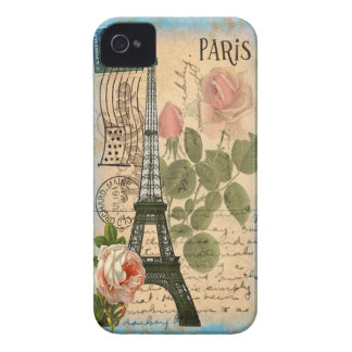 Shabby Chic Paris Eiffel Tower & Roses iPhone 4 Case