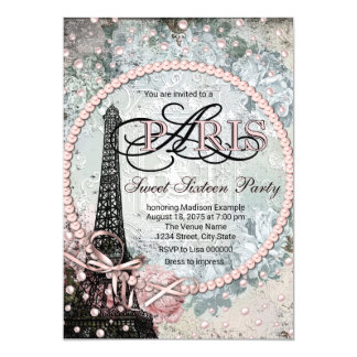 Shabby Chic Paris Sweet 16 Party Card