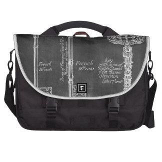 shabby chic paris vintage keys chalkboard laptop messenger bag