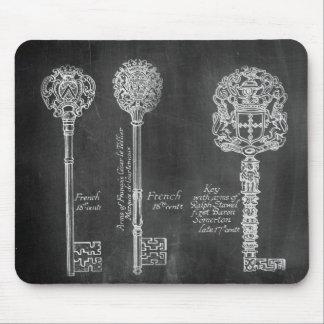 shabby chic paris vintage keys chalkboard mouse pad