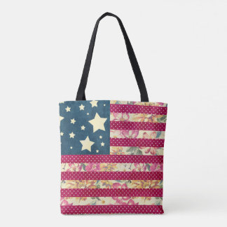 Shabby Chic Patchwork American Flag Tote Bag