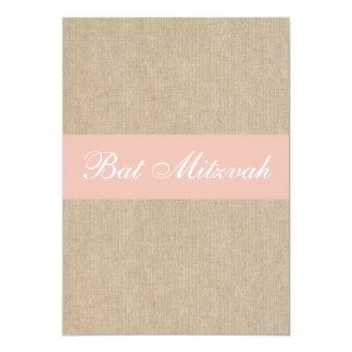 Shabby Chic Peach Burlap Bat Mitzvah Invitation