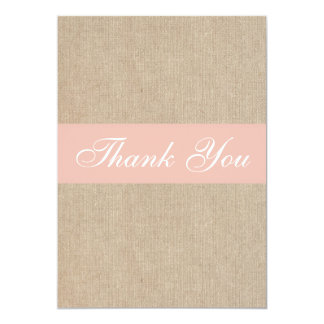 Shabby Chic Peach Burlap Thank You Card