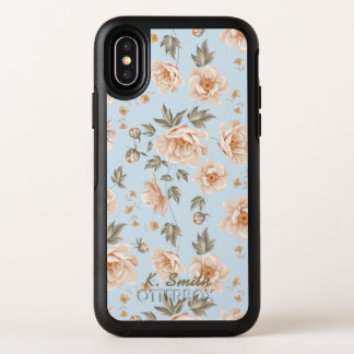 Shabby Chic Peach Cabbage Roses Flower Pattern OtterBox Symmetry iPhone X Case