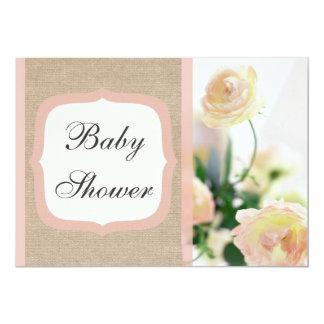 "Shabby Chic Peach Peony Burlap Baby Shower 5"" X 7"" Invitation Card"