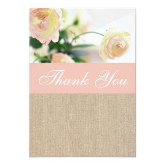 Shabby Chic Peach Peony Burlap Thank You Card