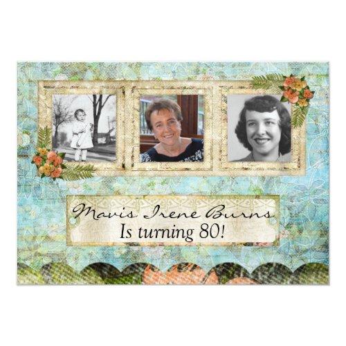 Shabby Chic Photo 80th Birthday Party Invitation