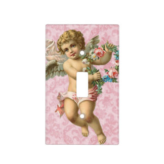 Shabby Chic, Pink, Angel, Flowers  Switch Plate