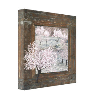 Shabby chic pink blossoms 12x12 canvas print